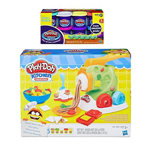 Price comparison product image Play-Doh Kitchen Creations Noodle Makin' Mania + Play Doh Plus Compound Bundle