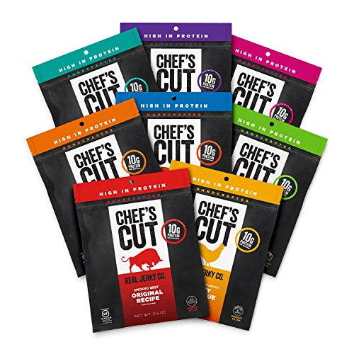 (Chef's Cut Real Beef, Chicken, Turkey, Pork Jerky | Chef's Sampler Variety Pack | 8 Count | 2.5 oz | High Protein | Low Fat | Gluten-Free)