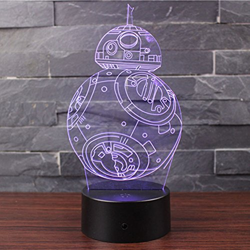 3D Lampara de Escritorio Mesa 7 cambiar el color boton tactil de escritorio del USB LED lampara de tabla ligera Decoracion para el Hogar Decoracion para Ninos Mejor Regalo (BB-8)