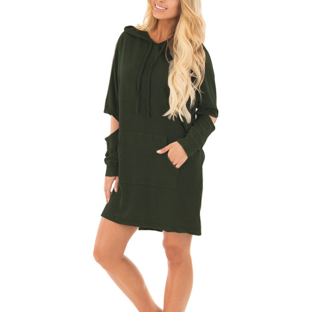 a6bc5c42ffc DANALA Women s Casual Solid Color Long Sleeve Crew Neck Sweatshirt Mini  Dress for Fall and Winter at Amazon Women s Clothing store