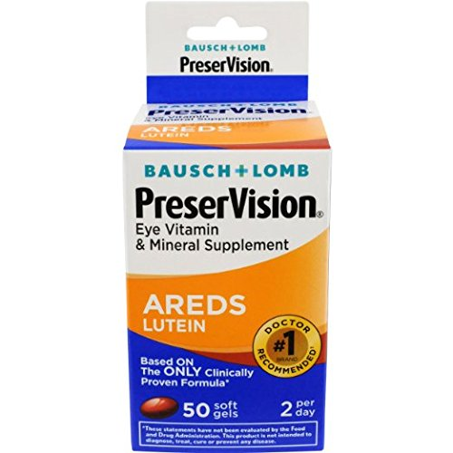 Bausch & Lomb Preservision with Lutein Eye Vitamin & Mineral Supplement, 50-Count Soft Gels Pack of 12 by Bausch & Lomb