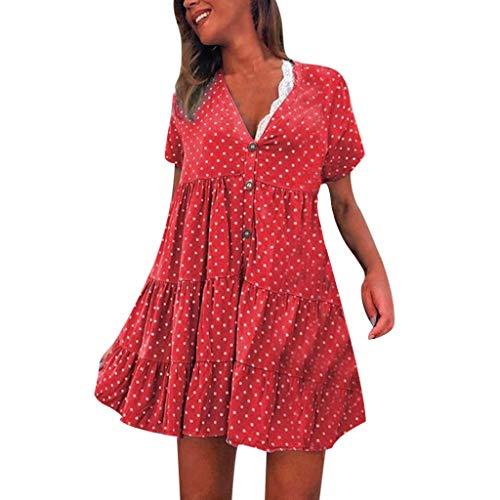 (2019 Women's Sexy Fashion V-Neck Polka Dot Printed Short-Sleeved Dress(Red,Large))