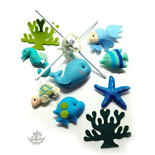 Oceanography, Whale and Under the Sea Fish | Handmade Nursery Decor Mobile by Gifts Define