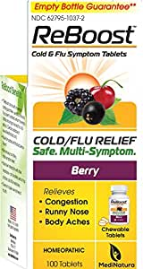 ReBoost Cold and Flu Relief, Berry Flavor, 100 Count Tablets