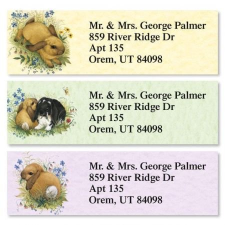 (Personalized Lovely Bunny Small Easter Address Labels - Set of 240 Self-Adhesive, Flat-Sheet rectangle labels)