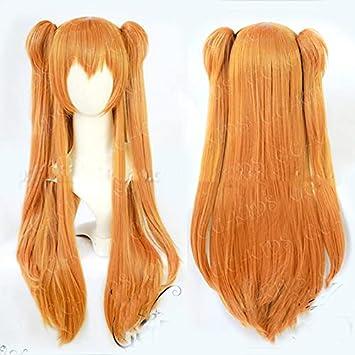 Anime EVA Asuka Langley Soryu Long Orange Heat Resistant Hair Cosplay Costume Wig + 2 Ponytail Clips+Wig Cap