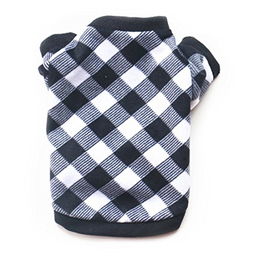 Idepet Warm Pet Dog Sweater with Black and White Lattice Soft Fleece Puppy Clothes for Small Dog Boys Girls Teddy Chihuahua Yorkshire Poodle Pug Pomeranian Shih Tzu Beagle (S)