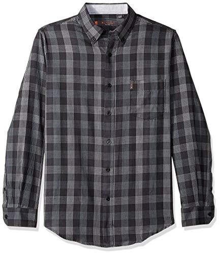 Ben Sherman Men's LS TXTRED Plaid Shirt, Black, XXL