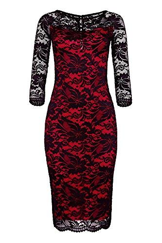 manga larga negro Dreams Laeticia mujer y encaje rojo de Vestido de 1WFYqYSHw0