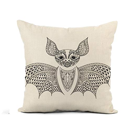 Awowee Flax Throw Pillow Cover Zentangle Bat Totem for Adult Anti Stress Coloring Page 16x16 Inches Pillowcase Home Decor Square Cotton Linen Pillow Case Cushion Cover]()