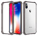 Speira iPhone X Transparent Hard Case with Reinforced Corners, [Anti-Discoloration] [No-Slip Grip] (Gray Edges)
