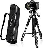 "Camera Tripod,57''DSLR Aluminum Camera Tripod for Canon, Nikon, Sony, Samsung, Olympus, Panasonic & Pentax + eCost Microfiber,With 1/4"" 3 Way PanHead,2 Bubble Level,57"",Load up to 8.8lb, Carry Bag"