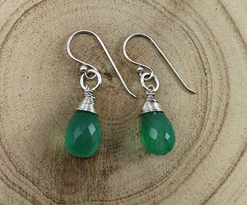 Earrings Onyx Green (Green Onyx 925 Sterling Silver Earrings,Drop Length 3 cm,EGO)