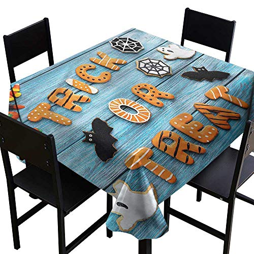 Halloween Washable Tablecloth Gingerbread Cookies Table High-end Durable Creative Home 50 x 50 Inch -