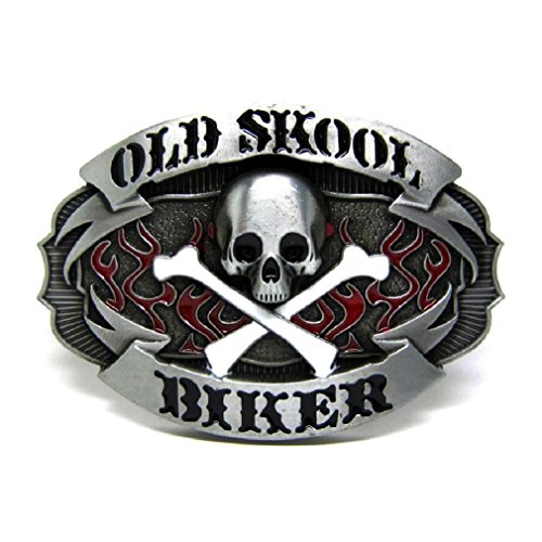 Cool Old Skull Skeleton Metal Belt Buckle Crossbones Flames Wester Cowboy - Belt Skull Biker Buckle