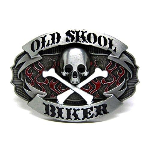 Cool Old Skull Skeleton Metal Belt Buckle Crossbones Flames Wester Cowboy - Biker Buckle Belt Skull