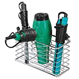 mDesign Farmhouse Metal Wire Bathroom Wall Mount Hair Care & Styling Tool Organizer Storage Basket for Hair Dryer, Flat Iron, Curling Wand, Hair Straightener, Brushes - Holds Hot Tools - Chrome