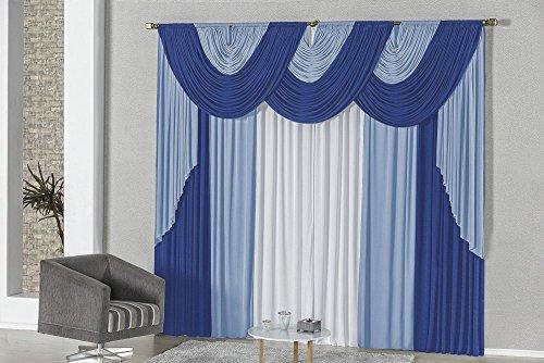 Cortina Elis 2m p/Varão Duplo - Azul/Royal/Branco