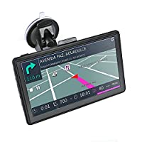 736 7 Inch Truck Sat Nav GPS Navigation with Europe UK Maps Preloades, Speedcam Radar Lane Assistance with Windows CE 6.0 Capacitive Screen Dual USB Charger 8GB