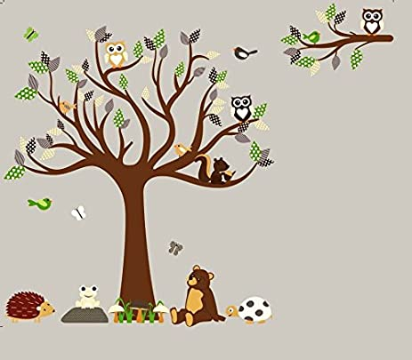 HH Baby Boutique Nursery Owl Wall Decal, Teddy Bear, Turtle, Frog Wall  Decals