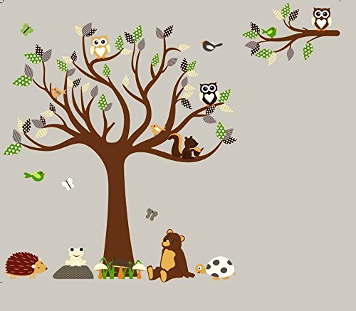 HH Baby Boutique Nursery Owl Wall Decal, Teddy Bear, Turtle,