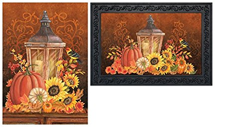 Briarwood Lane Fall Lantern Primitive Pumpkins Sunflowers Garden Flag & Doormat - Sunflower Lantern Garden