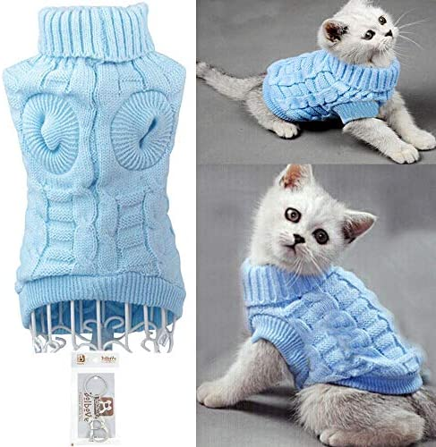 Bolbove Bro'Bear Cable Knit Turtleneck Sweater for Small Dogs & Cats Knitwear 19