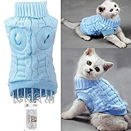 Bolbove Bro'Bear Cable Knit Turtleneck Sweater for Small Dogs & Cats Knitwear