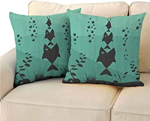 Fishing Decor Decorative Square Throw Pillow Covers, Big Fish Eats Little Small in Bubbles Underwater Ocean Symbolic Icons Theme for Bedroom (2 PCS, 18x18 Inch) Seafoam