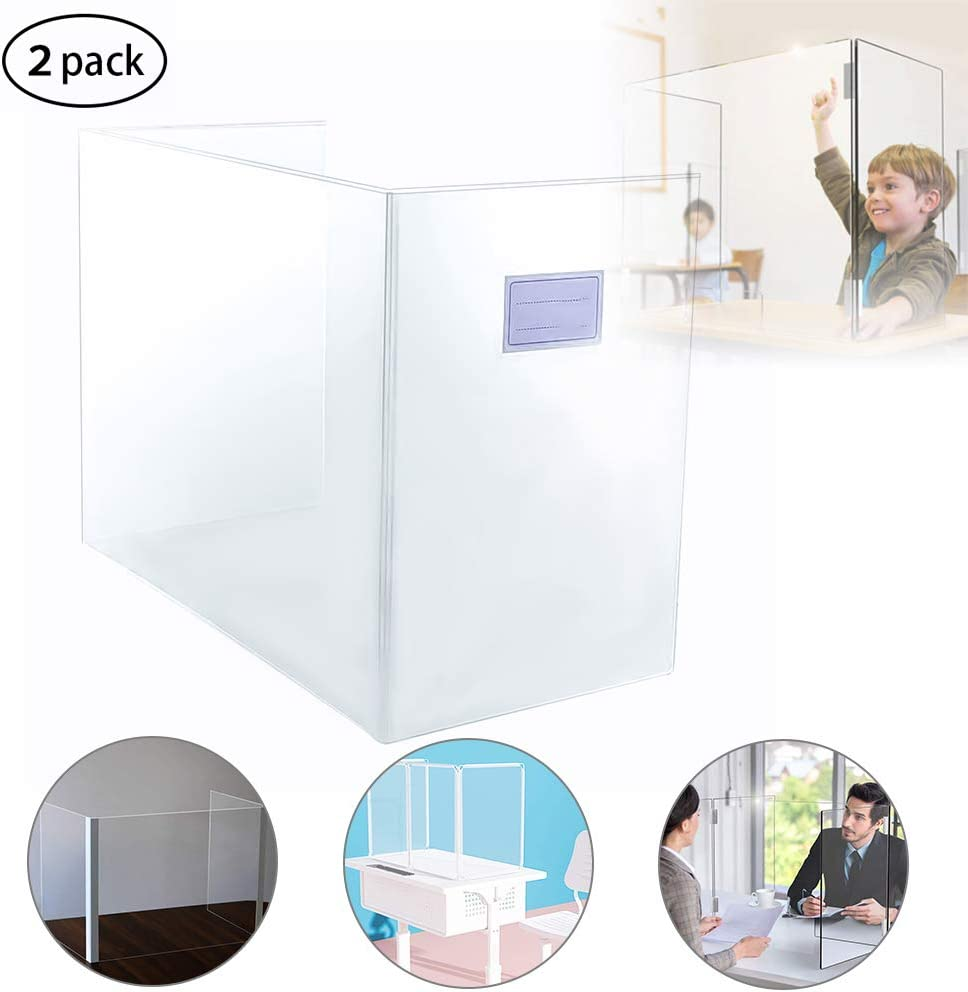 Desktop Sneeze Guard Shield Multifunctional Translucent Student Desk Dining Table Protection Plate Baffle Splash-Proof Divider Panel Cubicle Desk Divider for Partition Walls or Cubicles 2-Pack