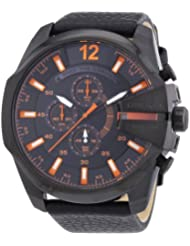 Diesel Only The Brave Chronograph Black Orange Leather Male Watchs Watch DZ4291
