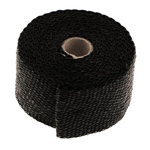 Dolity Titanio Rollo de Envoltura de Escape Alta Temperatura Calor Escudo Wrap Roll (50mm x 5m) - negro