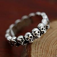 Gothic Skull Band Vintage Biker Mens Black Silver Punk Metal Ring US Size 7-9 LOVE STORY (9)