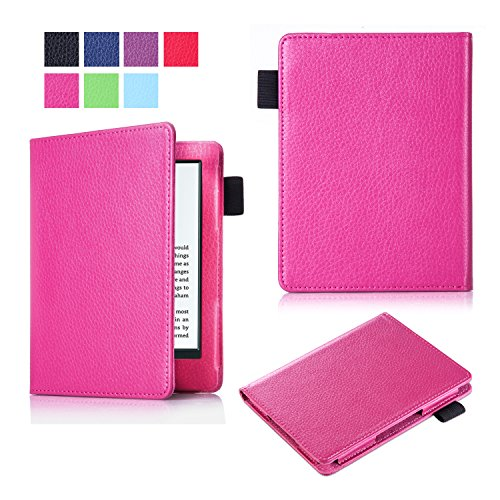 New Kindle E-reader case (8th Generation, 2016), SinYong Lightest and Thinnest Protective Leather Case Cover with Stylus Loop for Amazon All-New Kindle 2016 E-reader 6-inch (Rose)