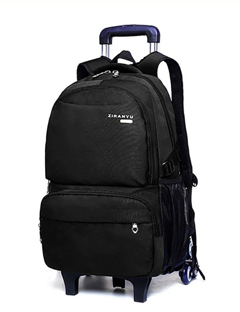 Meetbelify Wheeled Backpack School For Boys Rolling Backpack with Six Wheels,Black-B