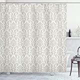 Ambesonne Damask Decor Collection, Floral Swirl Damask Pattern Oriental Cultural Rococo Style Illustration in Soft Color, Polyester Fabric Bathroom Shower Curtain, 84 Inches Extra Long, Light Gray