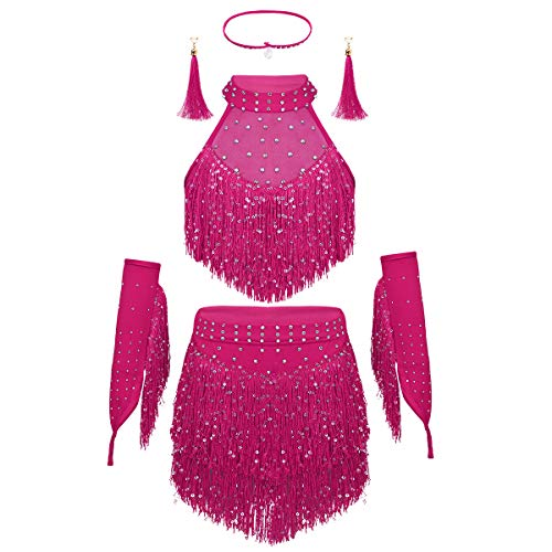 (dPois Kids Girls' Samba Salsa Latina Dance Stage Performance Shiny Sequined Tassel Dress Crop Tops with Skirt 5Pcs Outfit Rose Red 3-4)