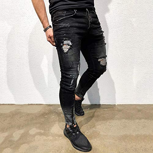 fit Pantalones Slim triturados Biker Negro B Fit Absolute Hombre elásticos Slim Pantalones Pants Jeans Hombre Casual Hombre Denim Ripped Deshilachado Vaqueros Skinny ♚ Jeans Chandal Pantalón BAdIqA