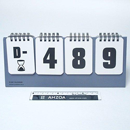 D Day Modern Calendar with AHZOA Mini Ruler, Countdown Standing Desk Calendar, Reversible Tent Type, Score Board Style (Gray) -
