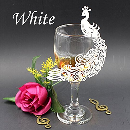 WOMHOPE 50 Pack - Perfect Pair Peacock Cards Wine Glass Laser Cut Design - Party Wedding Table Decoration Centerpieces Table Name Place,Multicolor - Wedding Glasses Peacock