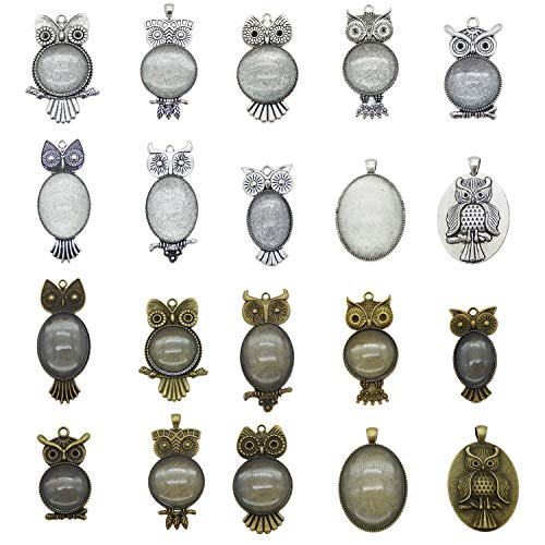 Assorted Antiqued Owl Bird Animal Setting Pendant Tray Bezel Blanks for Jewelry Making … (Bronze and Silver Bezels w/Glass)