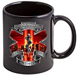 Coffee Cup with Tribute High Honor Red EMS, EMT Logo, Patriotic Stoneware Mug