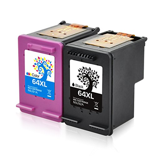 H&BO for HP 64XL Remanufactured Ink Cartridge High Yield for HP ENVY Photo 6255 7155 7855 6252 6258 7158 7164 7858 7864 6220 6230 6232 7120 7130 7132 7820 7830 HP ENVY 5542 Printer(1Black +1Tri-color)