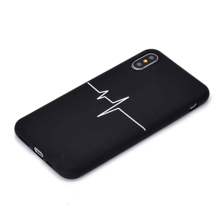 Cover iPhone X Silicone Nero Ultra Sottile Morbido TPU Custodia iPhone X//XS Apple Antiurto Flessibile Protettivo Bumper Case Gatto EuCase 2X Cover iPhone X