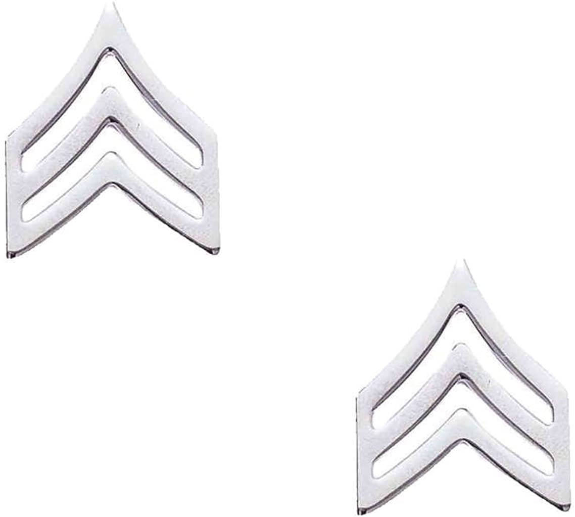 """SERGEANT Police Fire EMS Army Collar Brass Pins Insignia Badge Emblem NICKEL Finish, LARGE 3/4"""" x 15/16"""" (PAIR !): Jewelry"""