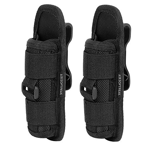 AIRSOFTPEAK Flashlight Pouch Holster Carry Case Holder with 360 Degrees Rotatable Belt Clip Long Type, Black