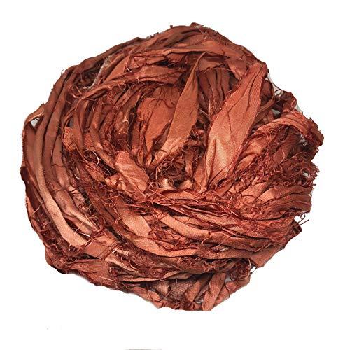 KnitSilk Super Bulky Recycled Sari Silk Ribbon Yarn in Rust   50 GMS - 30 Yards   Duppioni Silk Ribbon   Ribbon for Crafts, Rug Making, Jewelry Making, Necklaces, Silk Scraps, Silk Strips (Pack of 1)