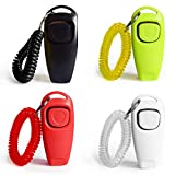 4 Pack Dog Training Clickers 2 in 1 Whistle and Clicker Pet Training Tools Set with Wrist Strap for Dogs Cats Birds Horses Reptiles and Small Animals