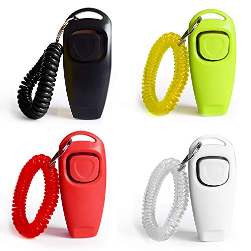 - 4 Pack Dog Training Clickers 2 in 1 Whistle and Clicker Pet Training Tools Set with Wrist Strap for Dogs Cats Birds Horses Reptiles and Small Animals