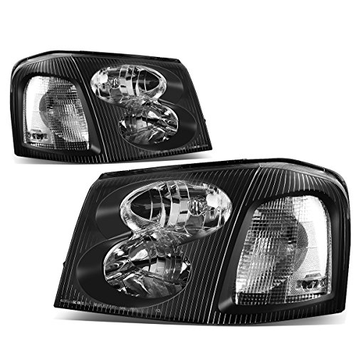 Envoy Tail Lamp Assembly (GMC Envoy 2nd Gen XL SUV Pair of Black Housing Clear Corner Headlight Lamp Assembly)